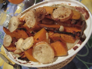 Butternut Squash with Polenta and Tempura Lemon