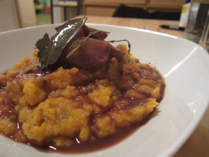 Root Vegetable Mash with Wine Braised Shallots
