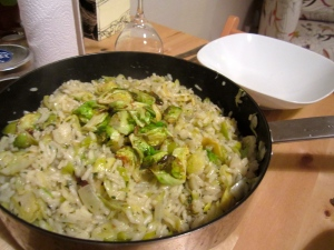 A delicious hot mess: Brussels Sprout Risotto