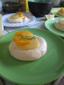 Springtime merinque with passionfruit and orange