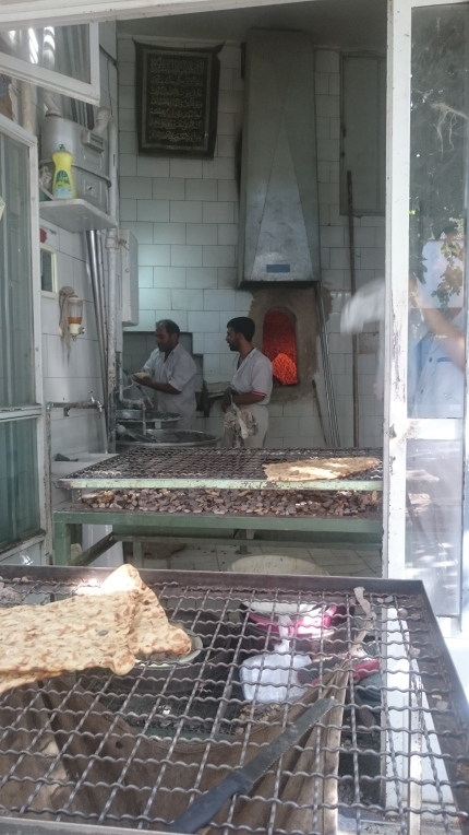 Sangak bread cooling in Isfahan